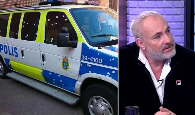 Izquierda: un furgón policial repleto de metralla de un ataque con granadas registrado en Estocolmo el año pasado. El individuo acusado del ataque fue recientemente absuelto porque el tribunal dudó de que su ADN, encontrado en la anilla de la granada, estuviera ahí en el momento de los hechos. Derecha: Kim Bodria, estrella del show sueco-danés de TV 'El Puente' ('Bron'), reveló el mes pasado que una de las razones por las que lo dejó fue el rampante antisemitismo de Malmöe (localidad de grabación del mismo).