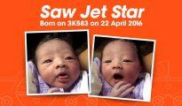 Foto de Jetstar del bebé nacido en el avión.