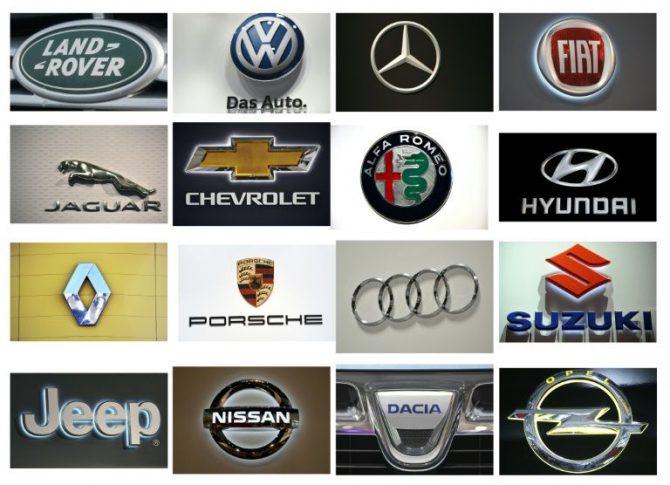 Montaje de fotografías que muestra los logotipos de las marcas de vehículos que han presentado irregularidades en una investigación en Alemania