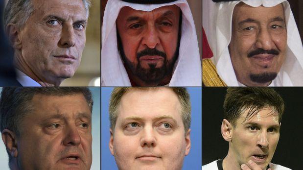 Mauricio Macri, Sheikh Khalifa bin Zayed al-Nahayan y el rey Salman bin Abdulaziz (primera fila). Petro Poroshenko, Sigmundur David Gunnlaugss y Lionel Messi (segunda fila). Todos están vinculados a los Panama Papers.
