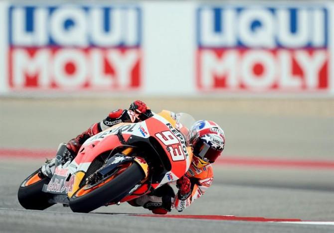 El piloto español de MotoGP Marc Marquez, del equipo Repsol Honda, durante las pruebas preliminares para el Gran Premio de las Américas de MotoGP, disputado en Austin, Texas