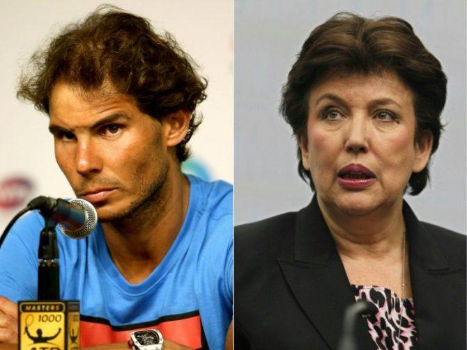 El tenista español Rafael Nadal y la exministra de Deporte Cohesion francesa Roselyne Bachelot
