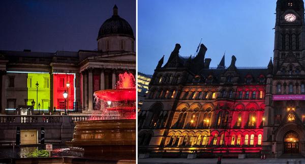 En la noche posterior a los ataques terroristas de Bruselas, edificios públicos británicos como la National Gallery de Londres (izquierda) y el ayuntamiento de Manchester (derecha) lucieron los colores de la bandera belga.