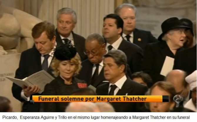 Picardo, Aguirre y Trillo homenajeando a Margareth Thatcher en su funeral