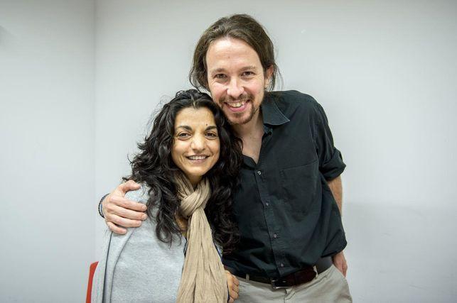 María José Jiménez, candidata de Podemos Salamanca al Congreso de los Diputados, junto a Pablo Iglesias.