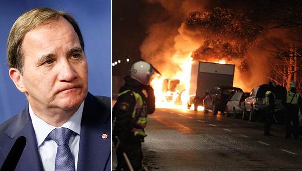 El primer ministro sueco, Stefan Löfven (izquierda), dijo la semana pasada que Suecia está en crisis. A la derecha, disturbios en un suburbio de Estocolmo en diciembre de 2014.