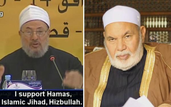 """Los eruditos islámicos Yusuf al Qaradawi (izquierda) y Taha Jabir al Alwani (derecha) han desarrollado una nueva forma de 'jurisprudencia islámica de las minorías' que en parte se preocupa de si los países no musulmanes con grandes minorías musulmanas siguen considerándose la """"Casa de la Guerra""""."""