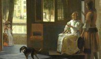 """""""Un hombre entregando una carta a una mujer en un recibidor"""" pintado por el artista neerlandés Pieter de Hoochen en 1670."""