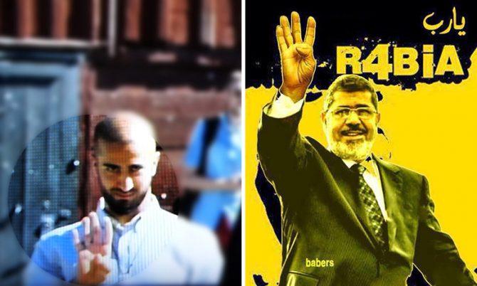 Salahaden Raoof (izquierda), portavoz de la Juventud Verde de Malmö, Suecia, apareció en directo en televisión haciendo la rabia, un gesto de saludo de la Hermandad Musulmana. Se le ha permitido mantener el cargo tras declarar que no lo volverá a hacer. A la derecha, el depuesto presidente de Egipto, y líder de la Hermandad Musulmana, Mohamed Morsi, que popularizó la rabia.