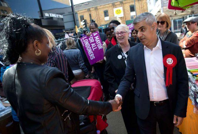 Sadiq Khan, durante su campaña para la Alcaldía de Londres.