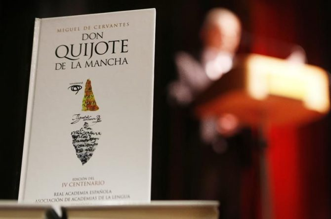 Detalle de un ejemplar de Don Quijote de la Mancha.