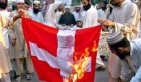 Musulmanes queman una bandera danesa.