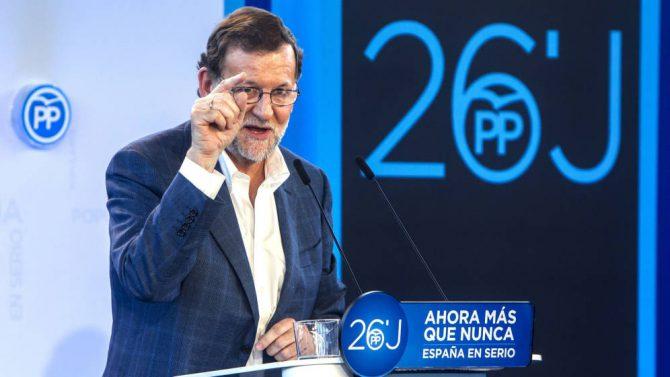 El presidente del Gobierno en funciones y candidato del PP a la reelección, Mariano Rajoy.