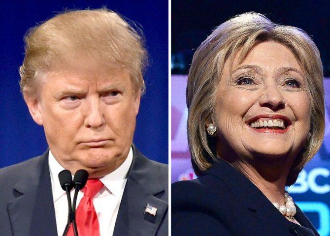 Composición gráfica con imagenes de los precandidatos presidenciales Donald Trump y Hillary Clinton, registradas en enero y febrero de 2016, respectivamente