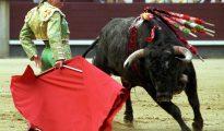 La torera Cristina Sánchez, da un pase con la muleta a un toro en una corrida.