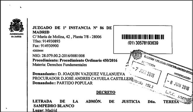Auto de admisión de demanda contra el PP.