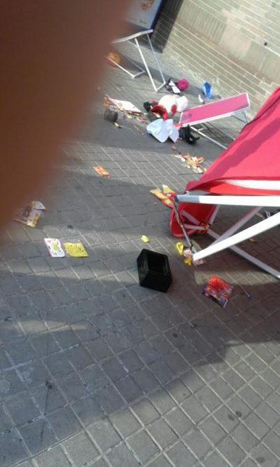 Imagen de los destrozos causados por los radicales catalanistas.