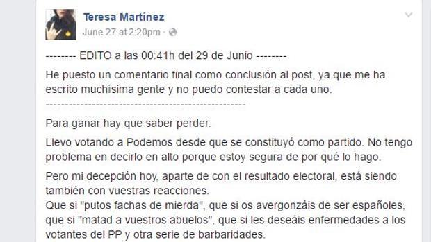 Imagen del mensaje escrito en Facebook por Teresa Díaz - Facebook