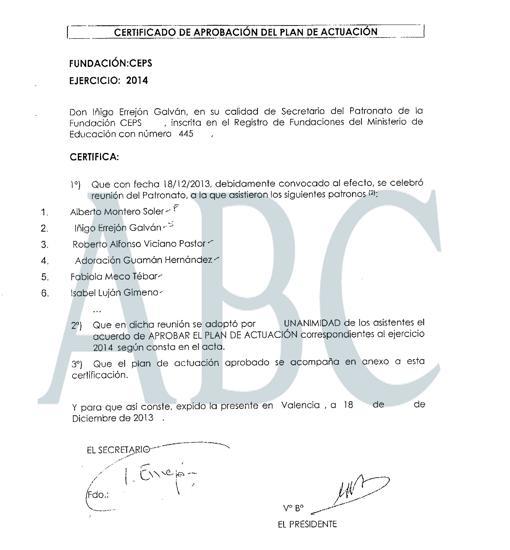 Primera página del plan de CEPS para 2014, firmado por Errejón y que aparece en ABC.