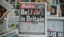 Varias portadas de diarios británicos fotografiadas, entre las que destaca la del tabloide The Sun que pide el voto en contra de la permanencia en la UE, el 14 de junio de 2016 en Londres