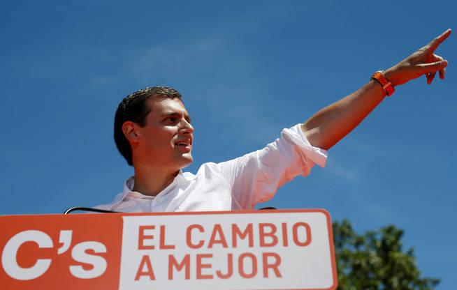 Albert Rivera, durante un mitin en Madrid celebrado el último domingo de la campaña.