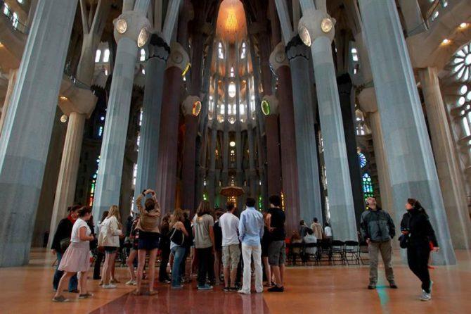 Vista del interior de la Sagrada Familia.
