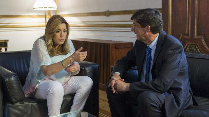 Susana Díaz y su socio y líder de Ciudadanos en Andalucía, Juan Marín.
