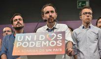 Miembros de Unidos Podemos en su comparecencia ante la prensa tras conocerse los resultados.