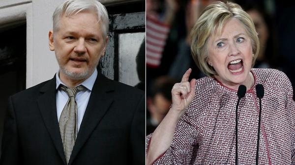 Julian Assange, Hillary Clinton
