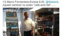 Mensaje de Quimi Portet, acompañado de la imagen del camarero señalado - TWITTER