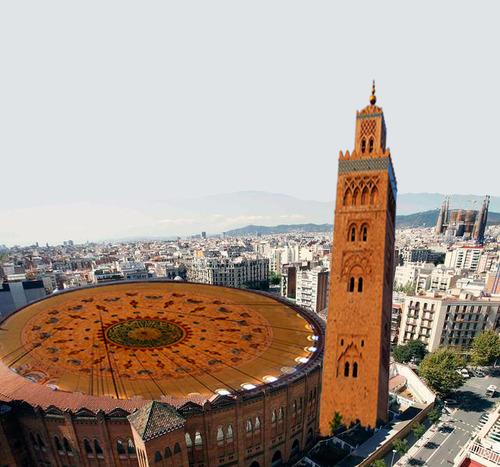 Fotomontaje de la mezquita de Barcelona que fue proyectada sobre la plaza de toros Monumental.