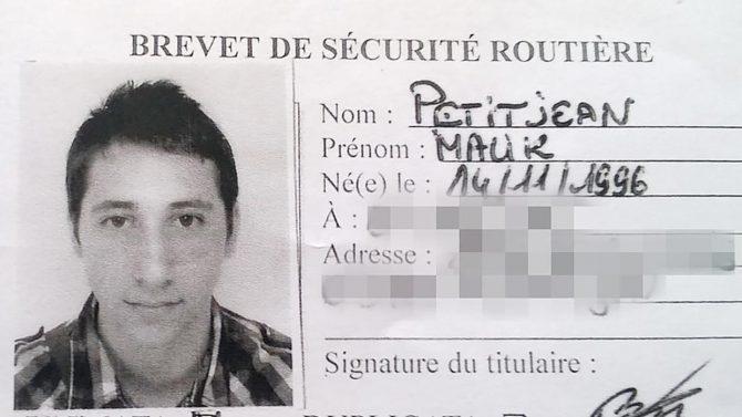 Carnet de conducir de Petitjean Malik