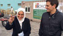 Albert Rivera, en un campo de refugiados en Grecia.
