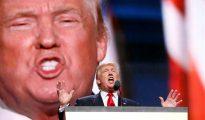 El candidato republicano a la presidencia, Donald Trump, ofrece un discurso durante el día de cierre de la Convención Nacional Republicana 2016, el 21 de julio de 2016, en el Quicken Loans Arena de Cleveland, Ohio (EE. UU.).