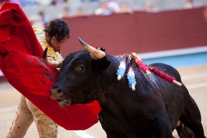 El diestro Morante de la Puebla da un pase con la muleta al segundo de su lote, durante la corrida de la Feria de la Peregina celebrada esta tarde en la plaza de toros de Pontevedra.