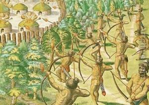 Ataque a una villa india con flechas ardientes. (Jacques Le Moyne de Morgues).
