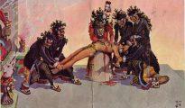 Los Aztecas realizaban sacrificios humanos, tanto a enemigos capturados como a voluntarios. Debían subir las escalas hasta la cima del templo y allí un sacerdote cortaba su cuerpo desde la garganta al estómago, para luego remover el corazón y ofrecerlo al dios Huitzilopochtli.