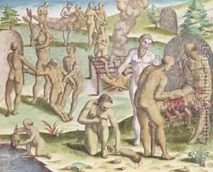 Escena de canibalismo en la América prehispánica (Jacques Le Moyne de Morgues).