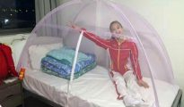 Una gimnasta del equipo olímpico chino mostró su estrategia para evitar contraer el virus del zika