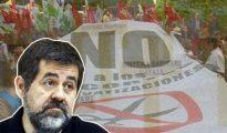 Jordi Sánchez, presidente de la Asamblea Nacional Catalana (ANC), y una de las protestas de Marea Blanca.