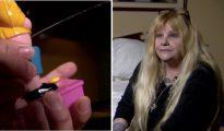 A la izquierda, detalle del juguete, y a la derecha, la señora afectada. Foto: Inside Edition.