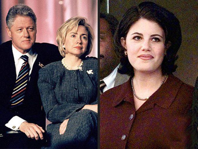 """A la derecha, Monica Lewinsky; a la izquierda, Bill Clinton y """"la otra"""", Hillary Clinton."""