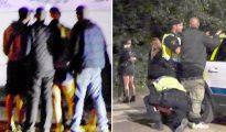 """Imágenes de un festival de música celebrado en Malmö en verano de 2015... A la izquierda, cuatro jóvenes rodean y asaltan sexualmente a una joven. A la derecha, la Policía arresta a un sospechoso mientras, en segundo plano, víctimas del asalto sexual lloran. El fotógrafo reportó que las jóvenes suecas fueron sexualmente asaltadas por grupos de hombres jóvenes """"de orígenes foráneos""""."""