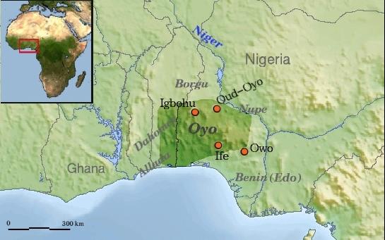Mapa con la situación del Imperio Oyo , que se extendía entre la actual frontera de Benin y Nigeria