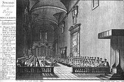 Grabado de 1786 que representa el Sínodo de Pistoya.