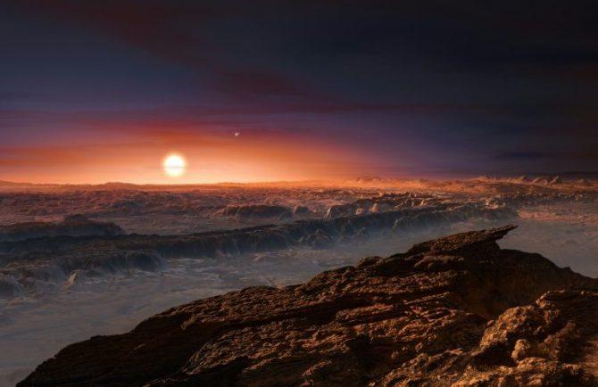 Imagen distribuida por el Observatorio Europeo Austral (ESO) el 24 de agosto de 2016 que muestra una recreación artística de cómo podría ser la superficie del planeta Próxima b orbitando alrededor de la estrella enana Próxima Centauri