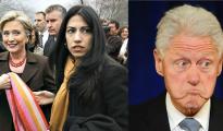 Hillary Clinton y Huma Abedin; a la derecha, Bill Clinton.