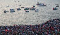 Una protesta contra el fallido golpe de Estado en Turquía celebrada el 4 de agosto de 2016 en Esmirna