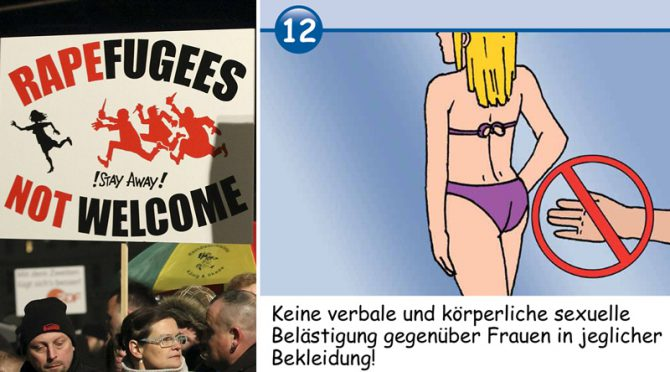La violencia sexual en Alemania ha alcanzado proporciones epidémicas desde que la canciller, Angela Merkel, permitiera el ingreso en el país de más de un millón de migrantes, la mayoría hombres, procedentes de África, Asia y Oriente Medio. El Gobierno viene experimentando un gran rechazo a su política de puertas abiertas a la inmigración, que incluye manifestaciones de protesta (izquierda). En algunas zonas, las autoridades han distribuido guías ilustradas para 'educar' a los migrantes en que el asalto sexual no es aceptable (derecha).