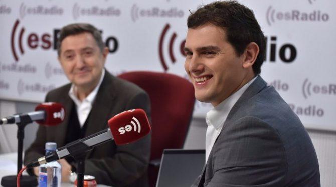 Albert Rivera y su gran mentor mediático, el liberal Jiménez Losantos.